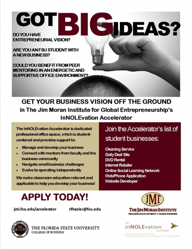 Incubator space available for student entrepreneurs