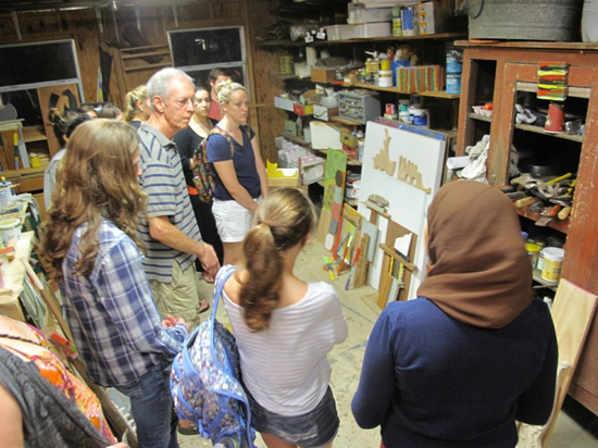 Students visiting Ben Bivins