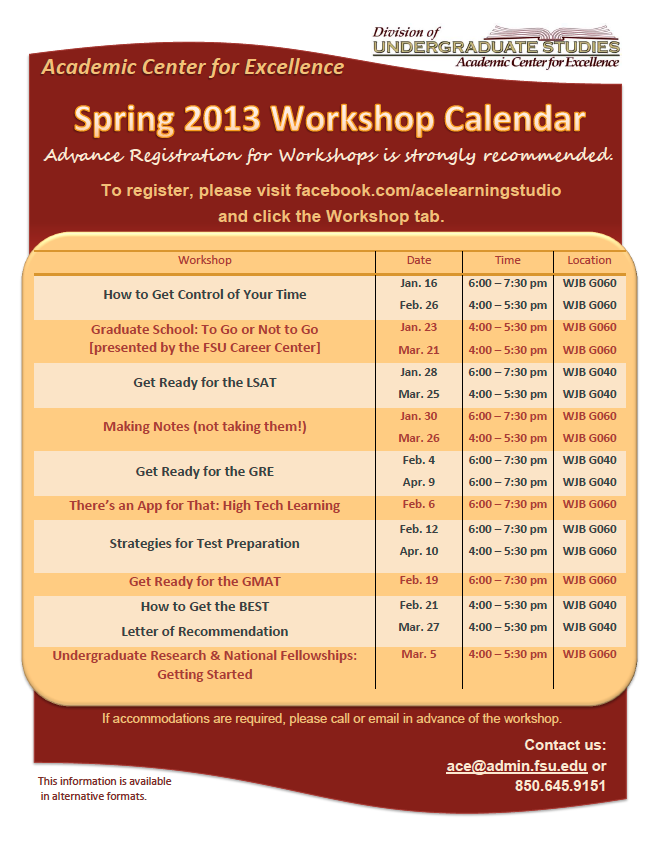 FSU's ACE Workshop Series Spring 2013 Calendar