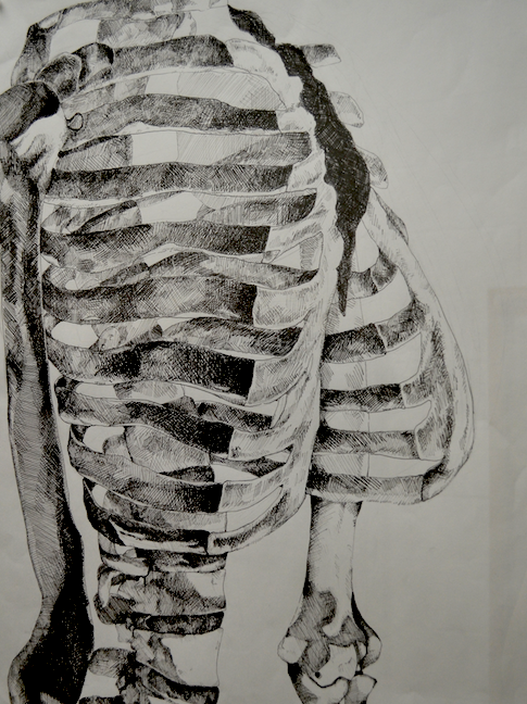 Students were told to draw by observation, object the skeleton. Things the students had to keep in mind were composition, proportion, and light/dark mapping.