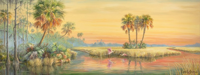 this one is a tad larger, 11 feet, to be exact, a sunset scene of our tranquil Everglades complete with a Ghost orchid in bloom