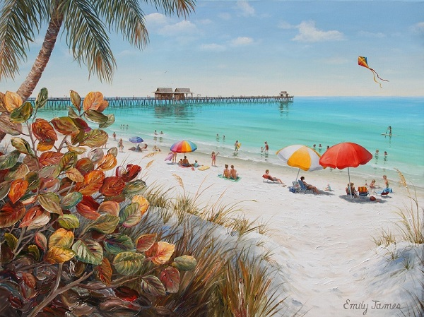 I'll finish with a couple of Naples scenes, one of a beach near the pier...