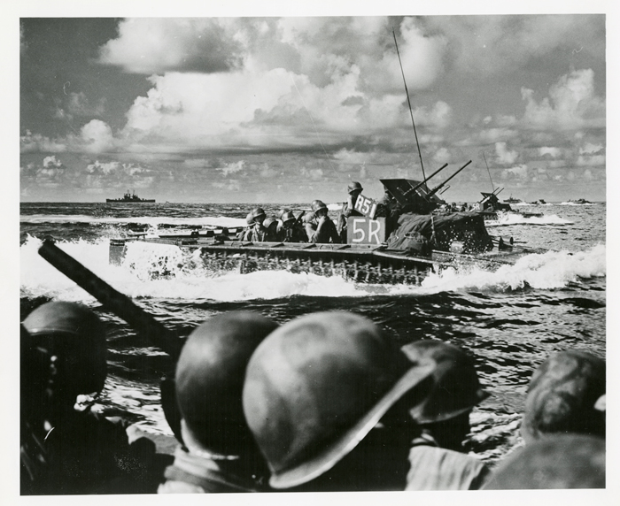 """Photographer Unknown, """"Soldiers on Amtrac in Ocean"""", n.d., The Institute on World War II and the Human Experience, Florida State University."""
