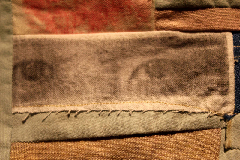 """Wedding Bojagi (detail), hand-dyed linen, hand-embroidery, recycled fabric, photo transfer, 18""""x18"""""""