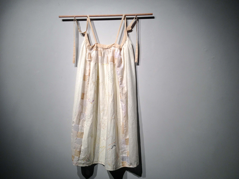 First Born, hand-dyed linen, hand-embroidery, silk