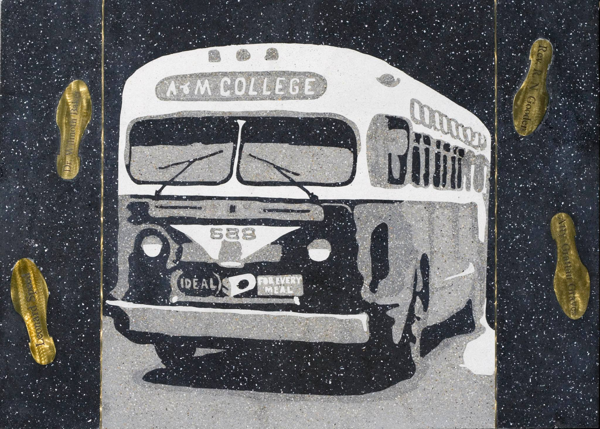 This panel shows one of the busses, A & M College is prominently shown. Courtesy of Master Craftsman Studio