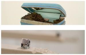 "Detail of ""Traveling Landscape"" by Kathleen Vance, 2013 / Details of ""Parish"" by Marnie Bettridge, 2013"