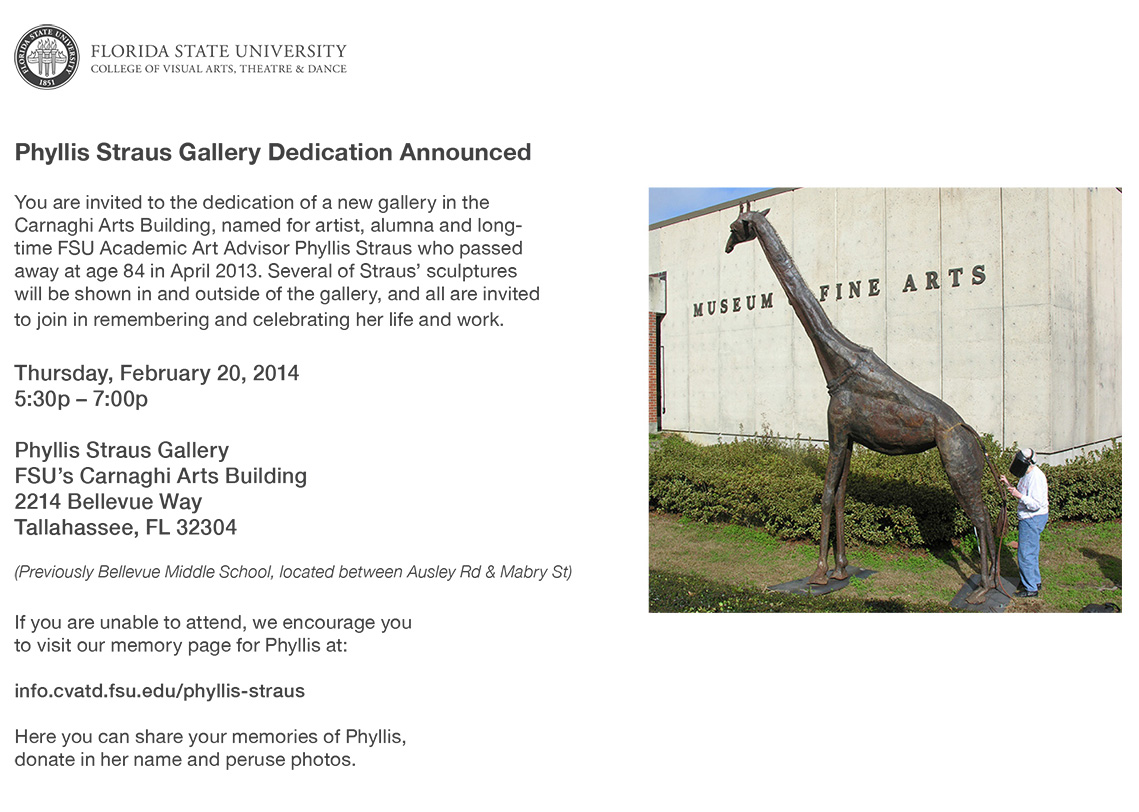 Phyllis Straus Gallery Dedication - Thursday, February 20th at 5:30PM
