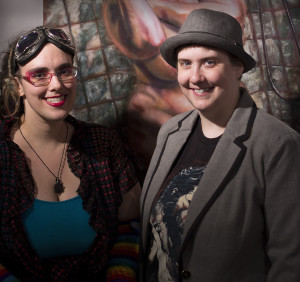 MANDEM (Maize Arendsee and Moco Steinman-Arendsee) at the opening reception of the Summer Annual exhibit at the FSU Museum of Fine Arts on May 16, 2014.