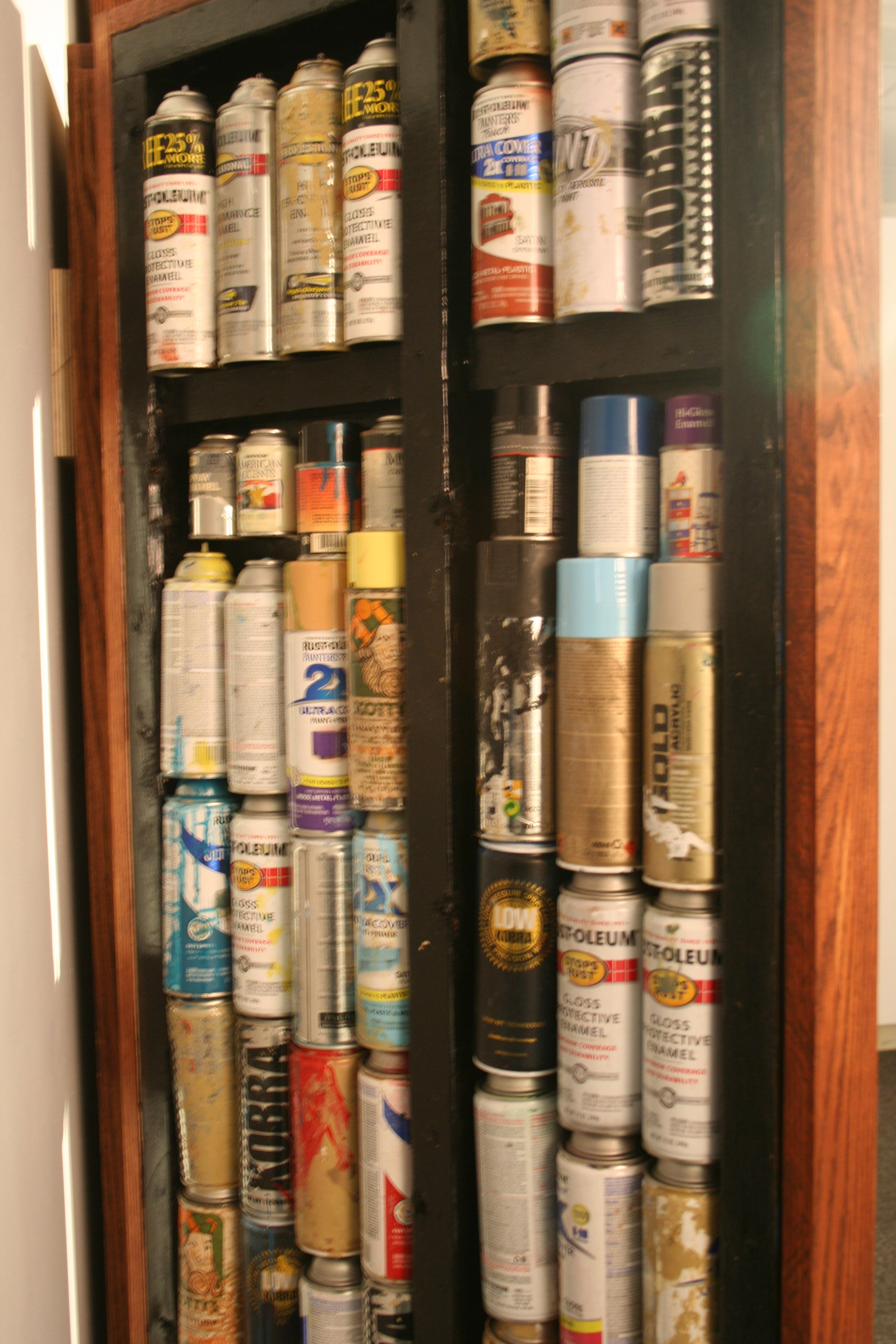 a bunch of spray cans