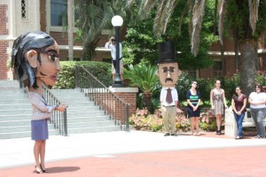 FSU Art's Cardboard Candidates Featured on WCTV and in the Democrat