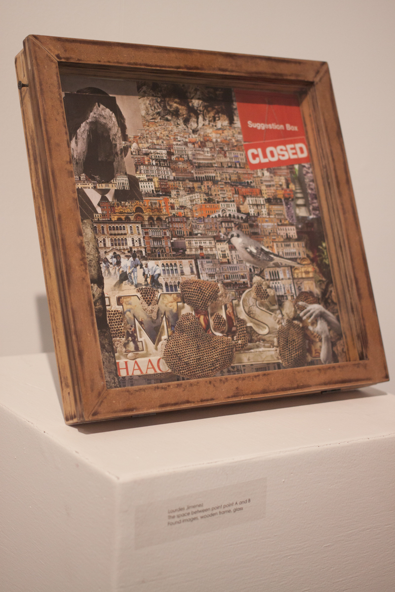 """The space between point A and B"" by Lourdes Jimenez. Found images, wooden frame, glass."