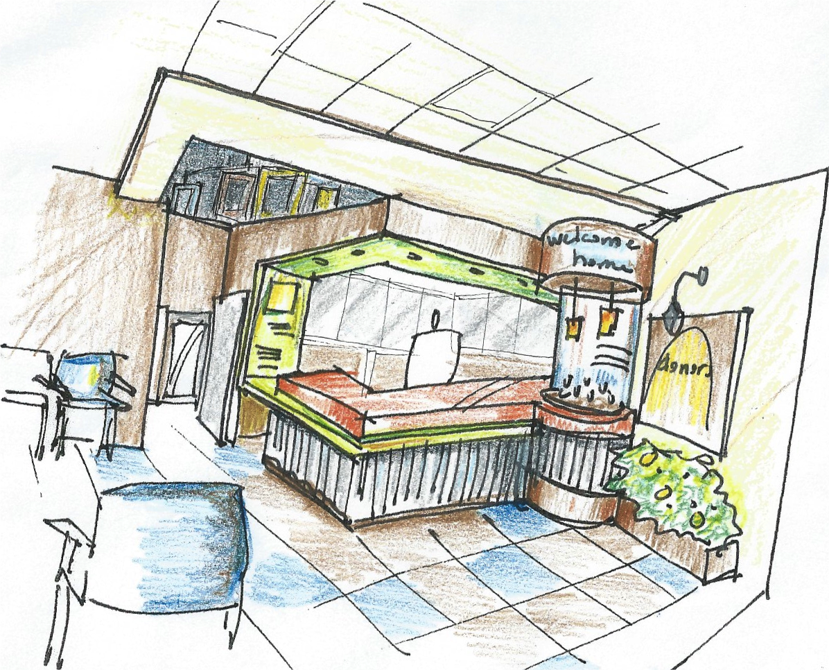 Sketch of Shelter Interior by Jill Pable