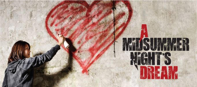 Girl spraying heart next to title