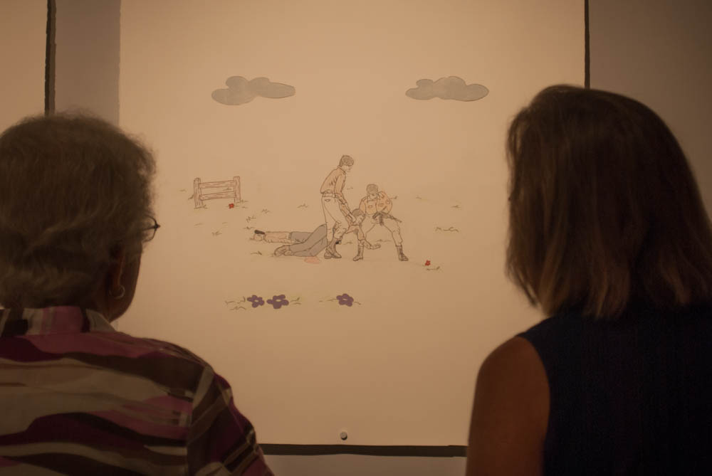 spectators viewing drawing