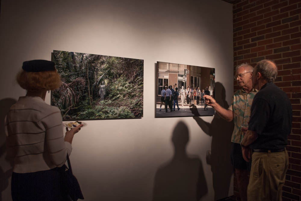 guests discussing photograph