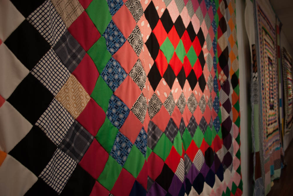 Angled detail photo of colorful quilt