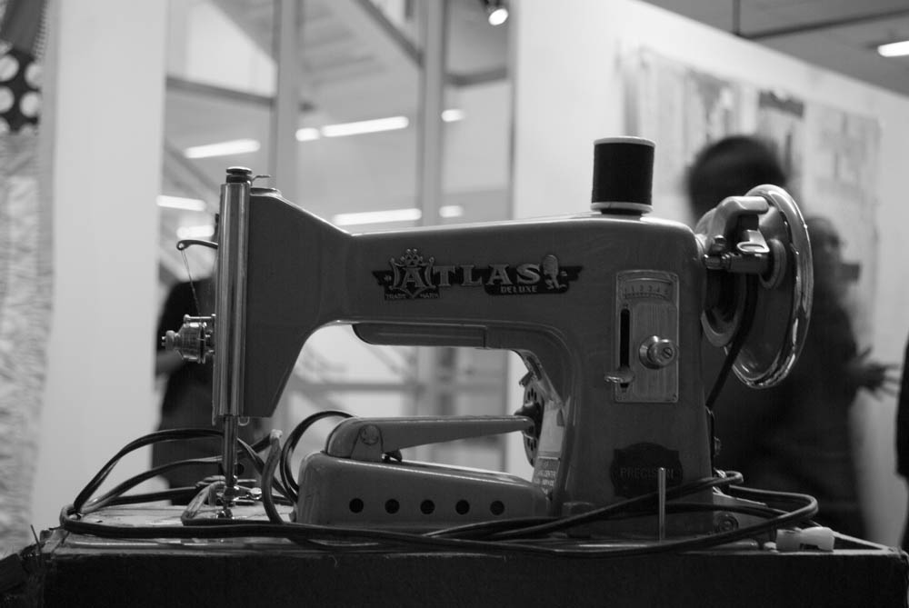 Black and white photo of sewing machine