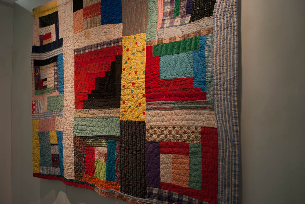 Angled photo of colorful quilt