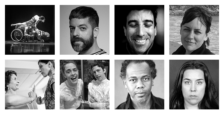 Black and white photo of artists
