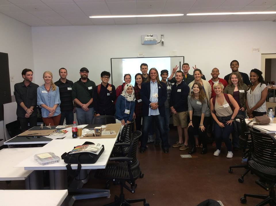 Group photo of students with Chris Bruning