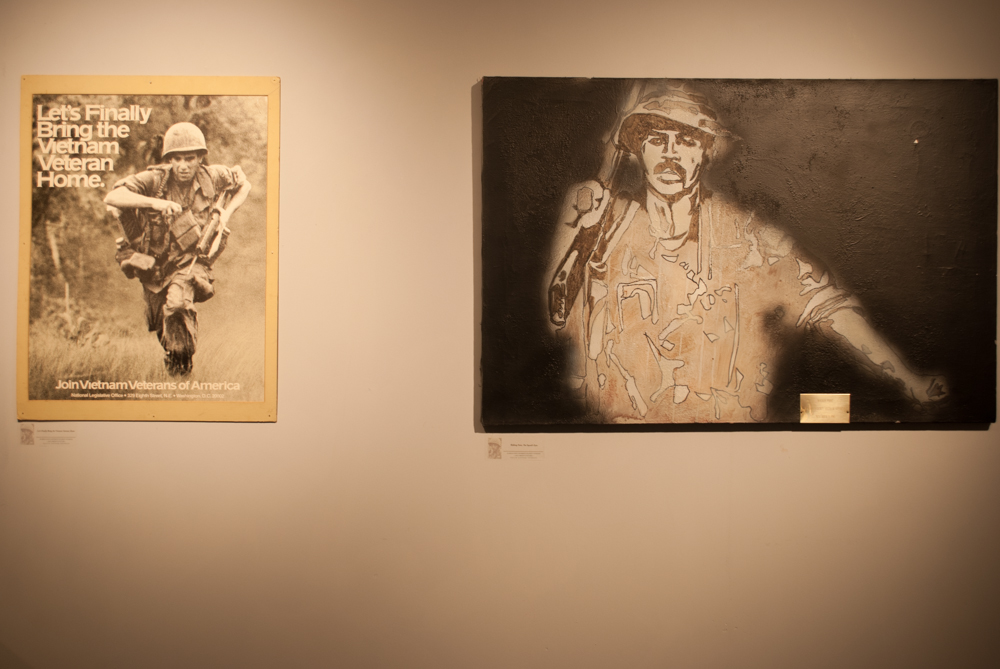 Frontal shot of two artworks from the Student Veterans Exhibition