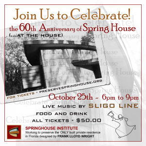 Image inviting the community of Tallahassee and surrounding areas to join and celebrate the 60th anniversary of Spring House