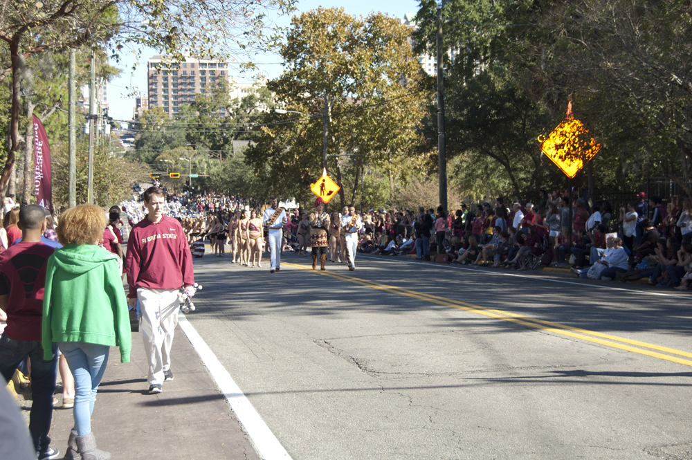 FSU Homecoming Parade, students walking