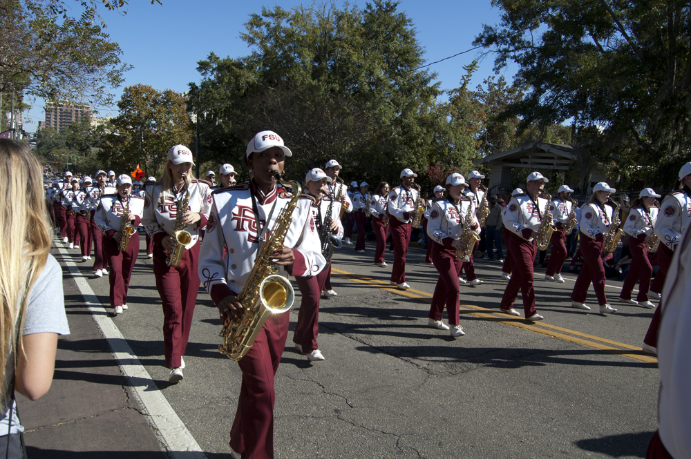 FSU Homecoming Parade, Marching Chiefs saxophones