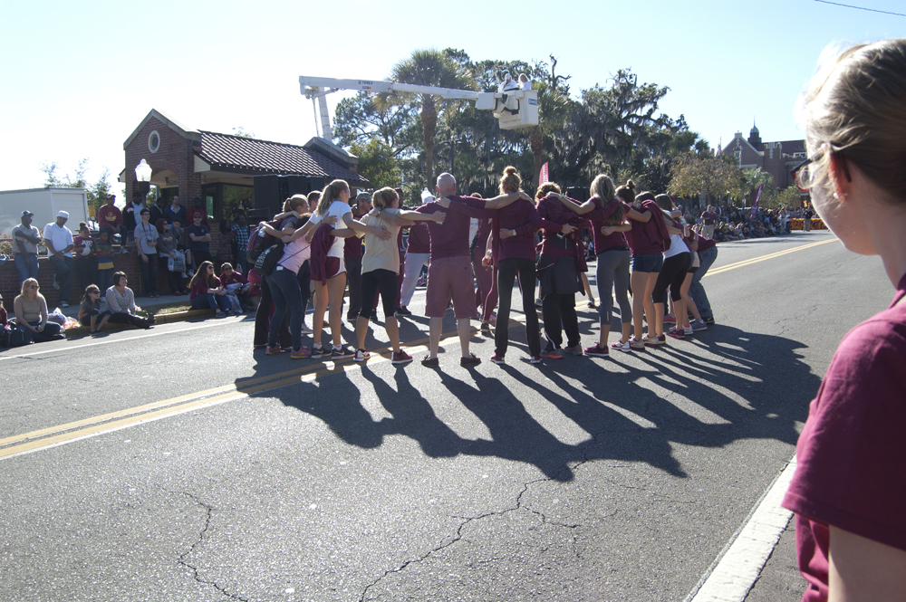 FSU Homecoming Parade, students circled