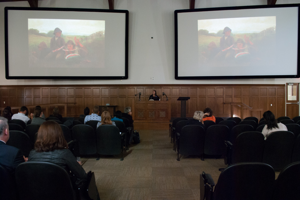 Back shot of lecture hall facing the speaker