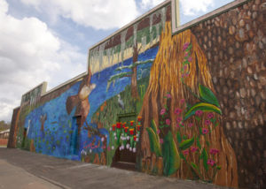 The 2012 Seven Days of Opening Nights mural painted on a 2,300-square-foot mural wall.