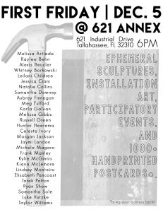 Dec. First Friday @ 621 Annex: Ephemeral Sculptures, Installation Art, Participatory Events, and 1000+ Handprinted Postcards