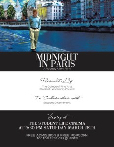 March CLC Event! - FREE VIEWING OF MIDNIGHT IN PARIS! 3/28