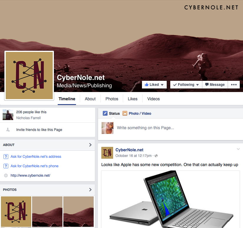 Facebook page with official logo and banner.