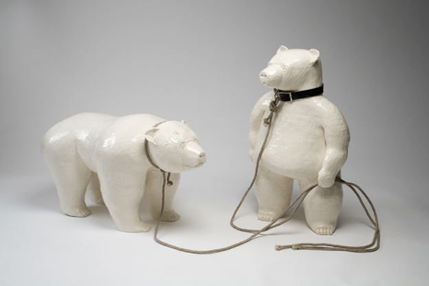"""David Packer, Bears that Dance, ceramic with rope and leather, 44"""" x 38"""" x 28"""""""
