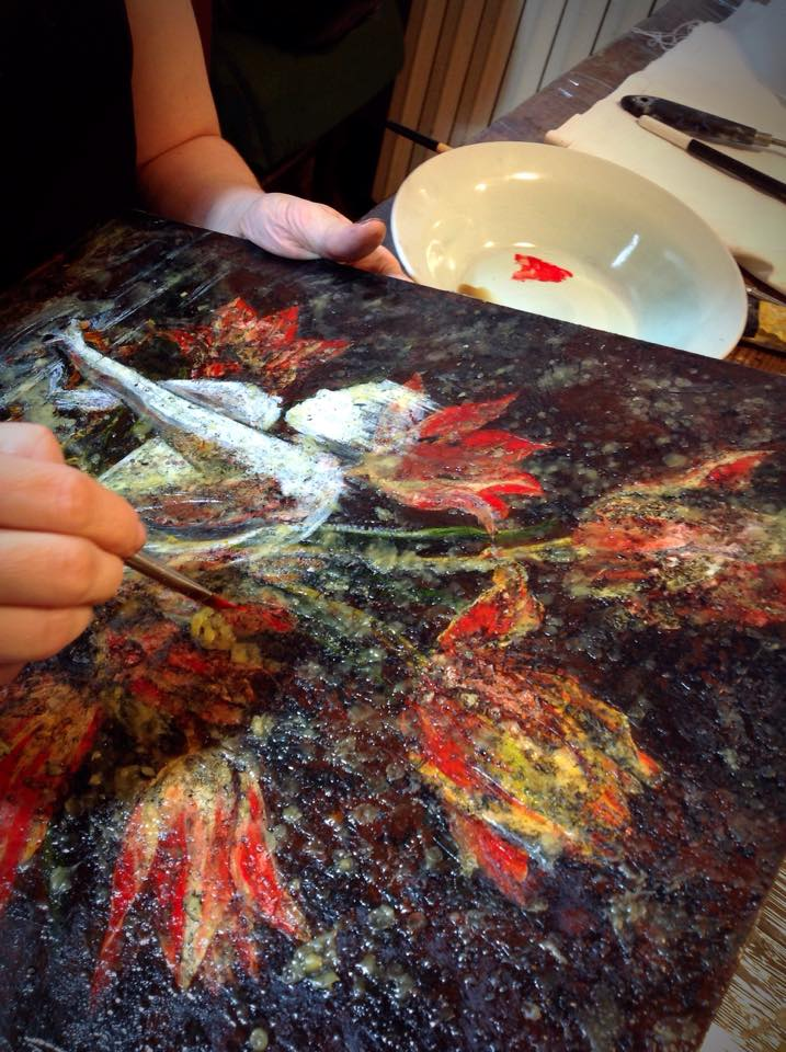 MANDEM working with encaustics during their artist residency in Florence, Italy.