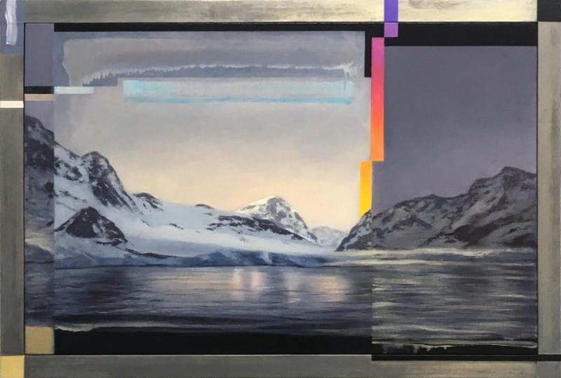 Glitch at the Edge of Antarctica, 2016, 41 x 61 x 2 in., oil on canvas framed in lead,oil, and brass leaf