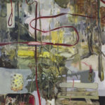 An intense collection of abstractly painted mixed media.