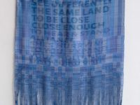 Elysia Mann Wait Nation: Alliance screen-dyed tencel, polyester ribbon, grommets 35 x 62 inches 2016