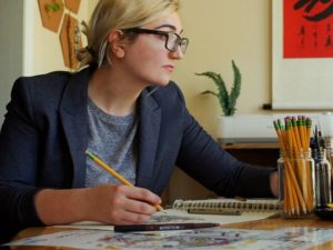 Brittany Gress takes on project-based work, which is reflected in her somewhat eclectic style. She's drawn to stark, contrasting colors and will work in blacks, whites, reds and sometimes golds. (Photo: Brittany Gress)
